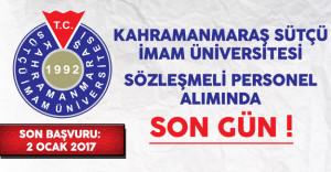 Kahramanmaraş Sütçü İmam Üniversitesi Sözleşmeli Personel Alımında Son Gün