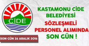 Kastamonu Cide Belediyesi Sözleşmeli Personel Alımında Son Gün