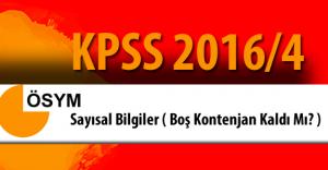 KPSS 2016/4 Gıda Tarım ve Hayvancılık Bakanlığı Yerleştirme Sayısal Bilgiler ( Boş Kontenjan Kaldı Mı?)