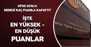 KPSS 2016/6 Yerleştirme Sonuçları En Yüksek ve En Düşük Puanlar ( Lisans, Ön lisans , Orta Öğretim)