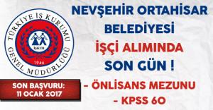 Nevşehir Ortahisar Belediyesi İşçi Alımında Son Gün