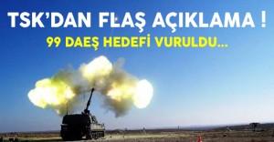 TSK Açıkladı: 99 DAEŞ Hedefi Vuruldu