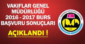 Vakıflar Genel Müdürlüğü (VGM) 2016-2017 Burs Başvuru Sonuçları Açıklandı !