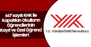YÖK'ten 667 KHK Kayıt ve Özel Öğrencilik İşlemleri Açıklaması