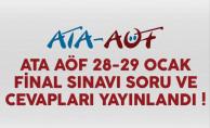 ATA AÖF 28-29 Ocak final sınavı soru ve cevapları yayınlandı