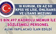 5 Bin 497 Kadrolu Memur ve Sözleşmeli Personel Alım İlanı DPB#039;de Yayımlandı