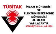 TÜBİTAK'ta İnşaat Mühendisi ve Elektrik-Elektronik Mühendisi peronel alımı yapılacaktır! Son başvuru 01.04.2019