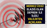 Son Dakika Deprem Açıklaması!. Elazığ Valiliğinden Deprem İle İlgili Açıklama Geldi!