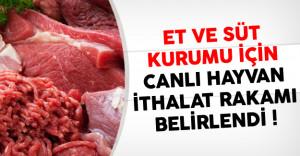 Et Ve Süt Kurumu İçin Canlı Hayvan İthalat Rakamı Belirlendi