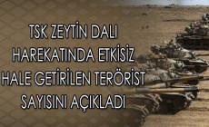 TSK Zeytin Dalı Harekatında Etkisiz Hale Getirilen Terörist Sayısını Açıkladı