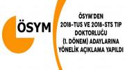 ÖSYM'den 2018-TUS ve 2018-STS Tıp Doktorluğu (1. Dönem) Adaylarına Yönelik Açıklama Yapıldı