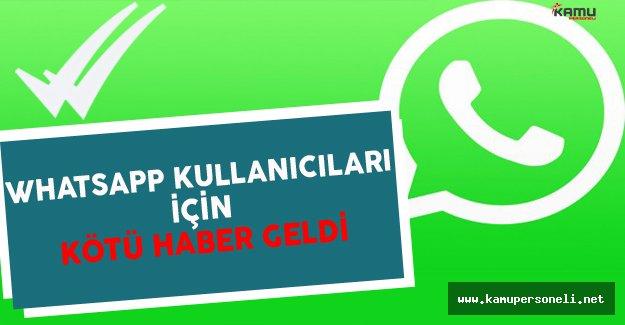 Whatsapp Kullananlara Kötü Haber Geldi