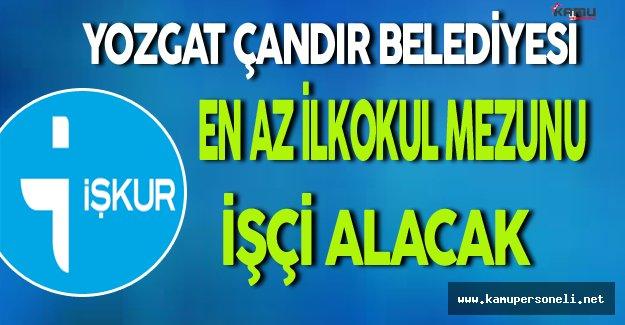 Yozgat/Çandır Belediyesi En Az İlkokul Mezunu İşçi Alacak