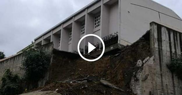 Ordu'da Okulun İstinat Duvarı Çöktü!