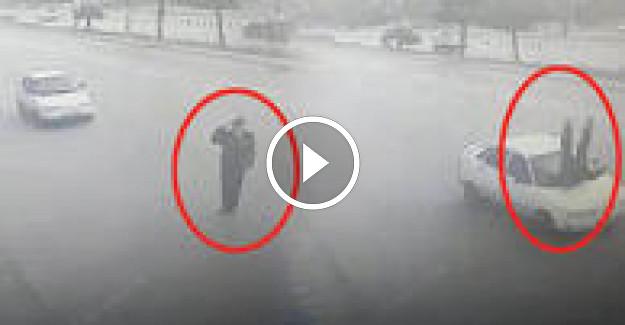Yok böyle bir kaza ! Valiye selam veren polise otomobil çarptı