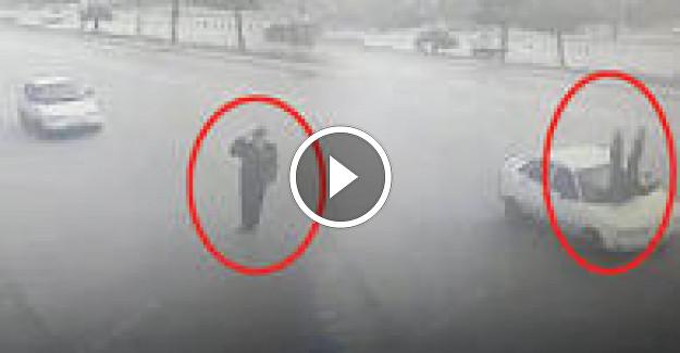 Yok böyle bir kaza ! Vali'ye selam veren polise otomobil çarptı